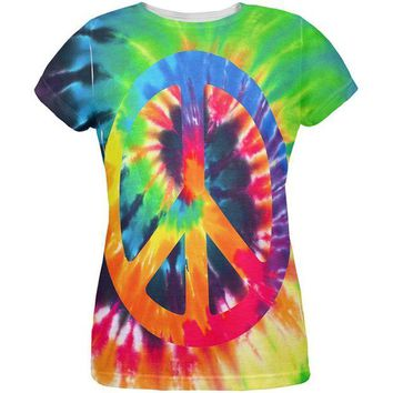 DCCKU3R Peace Sign Tie Dye All Over Womens T Shirt