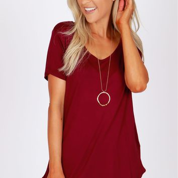 Long Basic Tee Burgundy