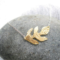 Gold Leaf Necklace Sterling Silver Necklace by pearlatplay on Etsy