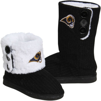 St. Louis Rams Ladies Knit High End Button Boot Slippers - Black