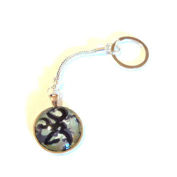 Keychain Silver Round Camo Deer Outline You Pick Color