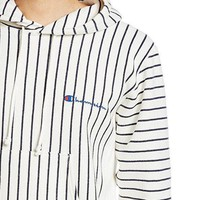Champion Stripe Hoodie Woman Men Fashion Edgy Embroidery Sport Stripe Long Sleeve Hoodie Shirt Sweater Top Tee White