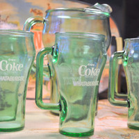 Whataburger Coca Cola COWBOY 6 Glass Mugs and Pitcher Commemorating Mel Tellis