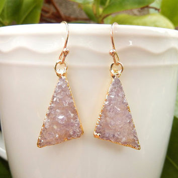 Purple Druzy Triangle Earrings 14K Gold Crystal Quartz Drusy - Free Shipping Jewelry