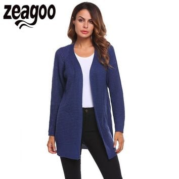 Zeagoo 2018 Autumn Large Cardigan Women Casual Front Open Long Sleeve Solid Thread Hem and Cuffs Knitting Cardigan pull femme