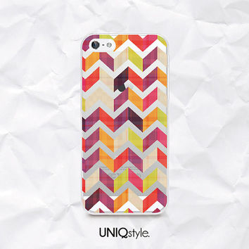 Chevron herringbone transparent phone case for iPhone 4/4s 5/5s 5C, Samsung S4 active, S5, Note3 - colorful zigzag pattern clear case -  N36