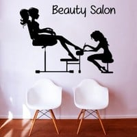 Wall Decor Vinyl Decal Sticker Words Woman Model Manicure Pedicure Girl Beauty Salon Bedroom Living Room Home Interior Design Kg837