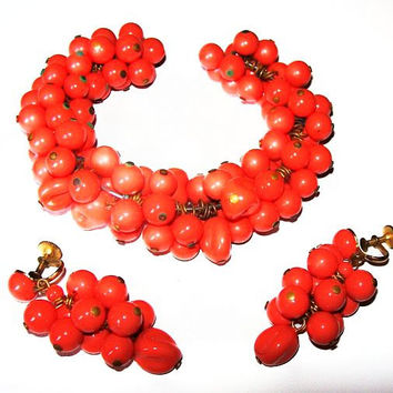 Coral Bracelet Dangle Earring Set Glass Beads Miriam Haskell Brass Metal Wire & Pins Vintage 1930s