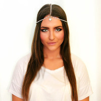 The Diana: Rhinestone & Pearl Gypsy Crown Head Chain Great Gatsby Hair Jewelry Bridal Headpiece Festival Goddess Headband Diamond Headpiece