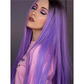 Long Brown Root Lavender Purple Ombre Synthetic Lace Front Wig