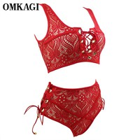 OMKAGI Lace Bikinis Set Swimwear Women Swimsuit Sexy Push Up High Waist Swimming Bathing Suit Beachwear Brazilian Bikini 2017