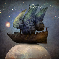 Sailing the Universe Art Print by Christian Schloe