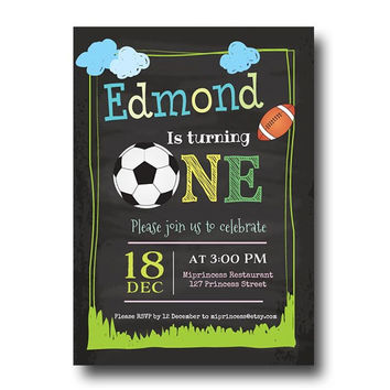 Football Birthday Invitation one or two birthday invitation Party invitation invite Fun Happy party Invitation Card Design - card 122