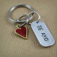 Te Amo Keychain - Spanish I Love You - Red Heart Key Ring - Anniversary Gift - Valentine's Day Gift - Long Distance Relationship Gift