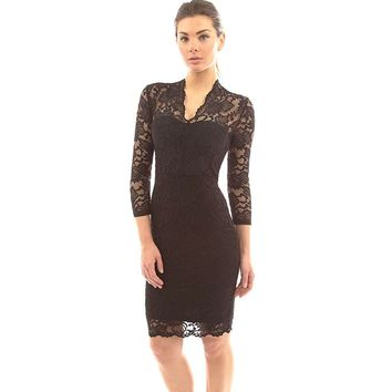 Womens V-Neck Floral Sheer Lace Bodycon mini Dress Evening Cocktail Party Dress