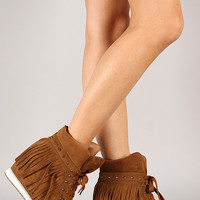 Liliana Duarte-4 Fringe High Top Lace Up Wedge Sneaker