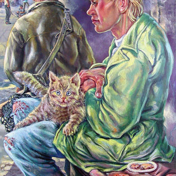 Man & Cat Street Scene By Simon Michael Oil Painting