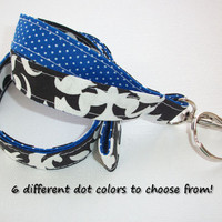 Lanyard  ID Badge Holder - Lobster clasp and key ring - design your own - black damask - royal blue pin dots - two toned double sided