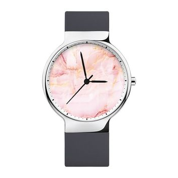 Red Marble Watch, Mens Watch, Women Watches, Minimalist, Jewelry, Modern, Gift, Simple, White Silicone Strap