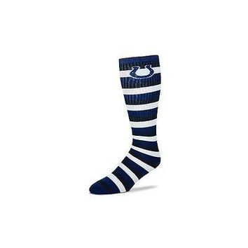 Indianapolis Colts Striped Knee High Hi Tube Socks One Size Fits Most Adults