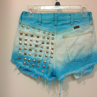 Teal to white ombré high waisted shorts with Studding on back