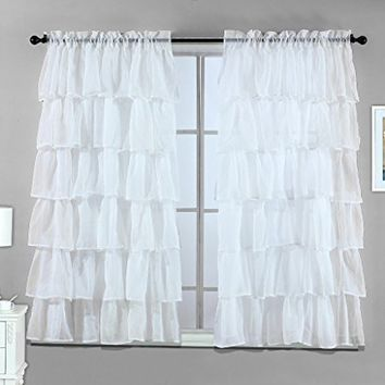 "2 Piece White - Gypsy Crushed Ruffle Sheer Curtain Set - 108"" inch width by 63"" inch length"