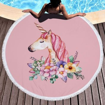 Pink Cute Unicorn Microfiber Large Round Beach Towel