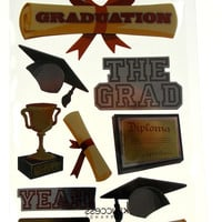 Graduation Scrapbooking Stickers 3 Package Sticko Dimensional Diploma Trophy Cap