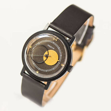 Black Copernicus Rocket wrist watch, men watch Moon design, modern men watch accessory, boyfriend wristwatch gift, new premium leather strap