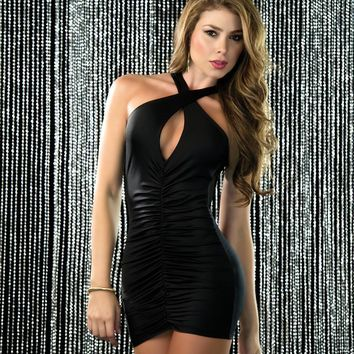Black Tank Style Silhouette Mini Dress featuring a Cowl Neckline and Open Back (White also available )