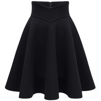 Solid Color A-line High Waist Pleated Skirt