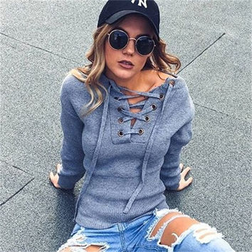 Lace Up Sweater Women Casual Loose Belt Ribbed Top Knitwear Sexy Jumper Elastic Hem Pullover Outwear