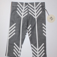 SALE (see description) Organic Baby Leggings - Charcoal Grey with White Arrows
