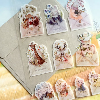 animal envelope sticker Cute animal lovely forest animal seal sticker cat deer squirrel bear bird fairy tale world deco sticker animal theme