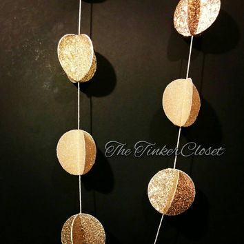 Gold circle garland, gold garland, paper garland, gold paper garland, wedding garland, wedding decor, wedding garland, new years eve decor