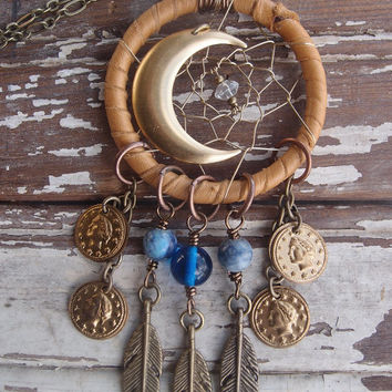 Brown Leather Wrapped Dream Catcher Necklace, Crescent Moon Necklace, Dream Catcher Necklace, Festival Necklace, Gypsy Necklace, OOAK