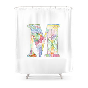 Society6 Letter M Watercolor Monogram Colorful Letter Shower Curtain
