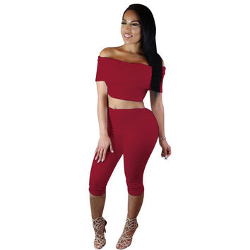 Women Two pieces Jumpsuit sexy slash neck Rompers outfits summer Crop Tops and half pants set Bodycon Palysuit