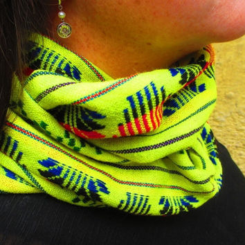 Aztec Scarf, Tribal Scarf, Neon Yellow Scarf, Infinity Scarf, Loop Scarf, Circle Scarf, Chunky Scarf, Multi Colored