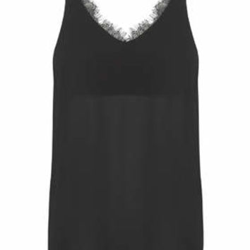 Lace Trim Plunge V-Neck Cami - Black