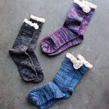 DKJN6 marled crew socks with lace (3 Pairs)