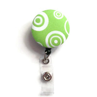 Fabric Covered Retractable Badge Reel Green and White Pattern Keychain Lanyard