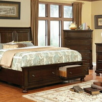 5 pc Castor collection brown cherry finish wood w/ drawers in footboard queen bedroom set