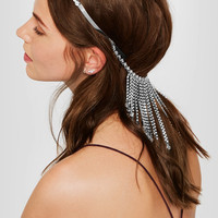 Miu Miu - Fringed silver-tone, crystal and bead headband