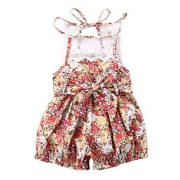 Newborn Kids Baby Clothing Jumpsuits  Retro Floral Infant Girls Romper Toddler Girl Roupas Summer Little Girls Clothes