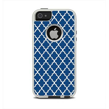 The Navy & White Seamless Morocan Pattern Apple iPhone 5-5s Otterbox Commuter Case Skin Set