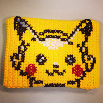 Pikachu Personalized iPad/Tablet Case - Pokemon Handmade Crochet Video Game Pouch/Clutch/Bag/Cover - Retro Hipster Accessory