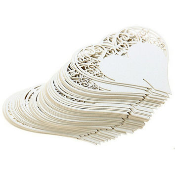 50pcs  Wedding Table Decoration  Laser Cut Heart Floral Wine Glass