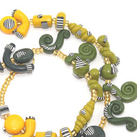 Ombre elegant necklace in yellows greens and blues, Polymer clay necklace, one of a kind necklace with fine stripes