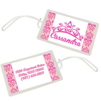 Princess Tiara Pink Personalized Luggage Bag Tag - Durable and Waterproof